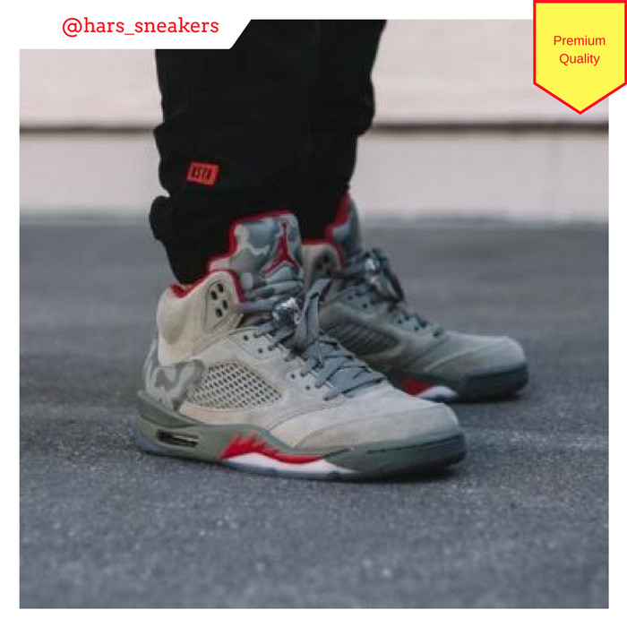 91f35c59720 Jual Sepatu Nike Air Jordan 5 Retro Suede Grey Camo Premium Quality ...