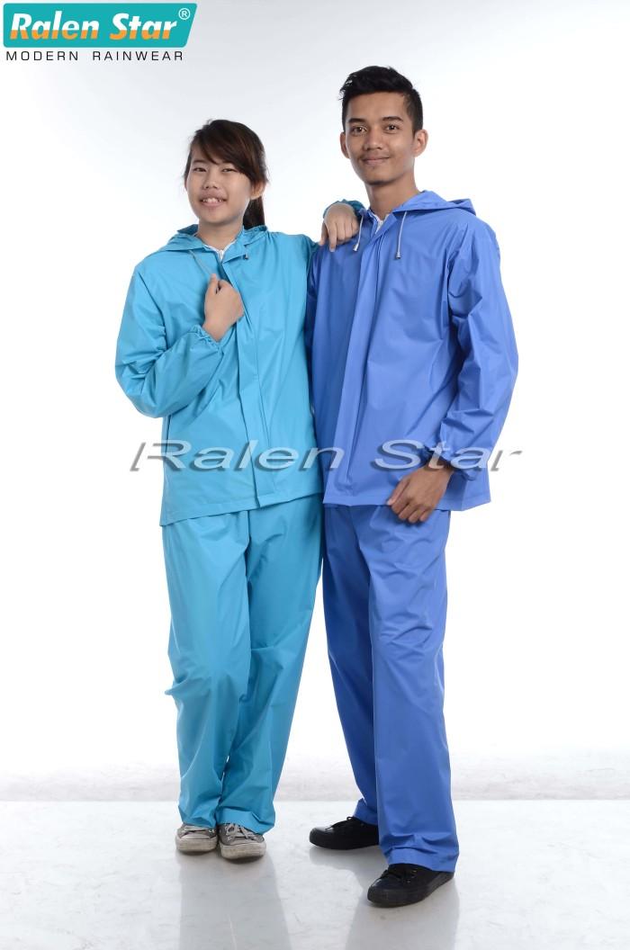 harga 66004 | jas hujan setelan pria wanita warna hijau tosca biru Tokopedia.com
