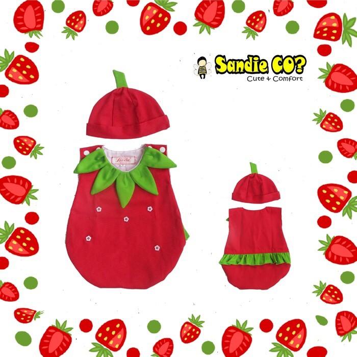 a45d5c500 Jual setelan baju jumper bayi topi karakter kostum buah strawberry ...