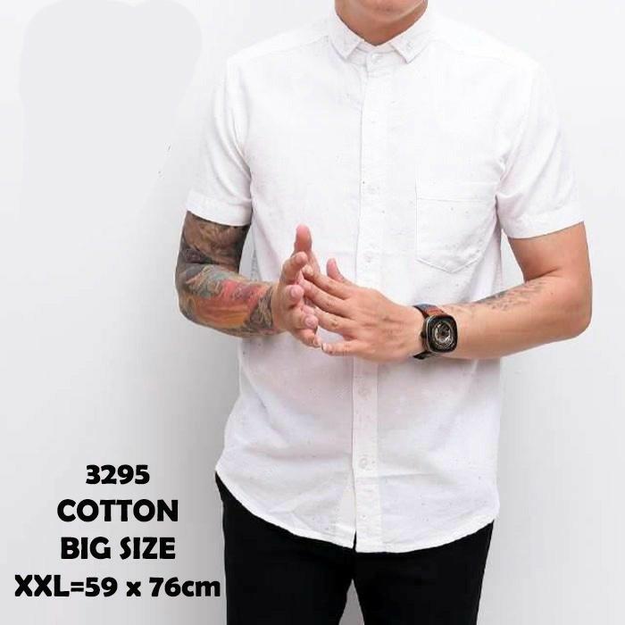 harga Kemeja pria baju cowo lengan pendek putih polos murah size jumbo xxl Tokopedia.com