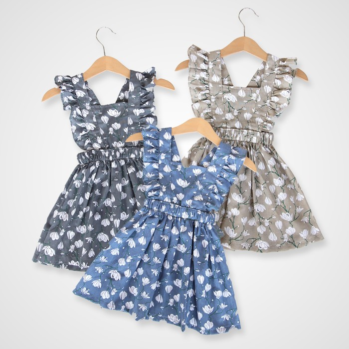 harga Kicaukecil dress anak motif bunga 6m-4t abu-abu biru coklat - 3-4 tahun cokelat Tokopedia.com