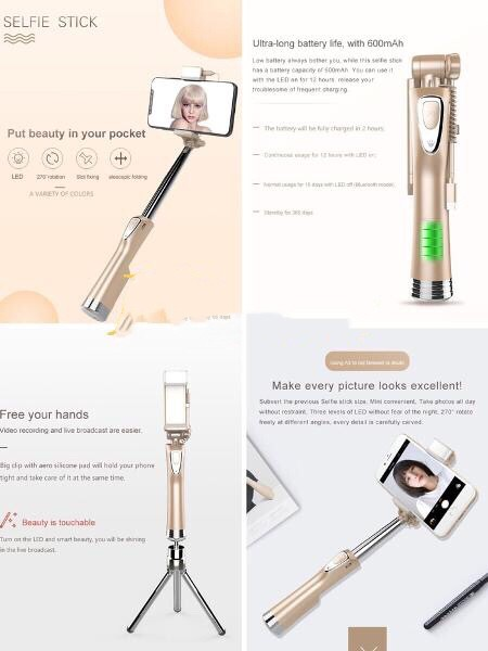 harga Tongsis bluetooth a3 3-in-1 led fill light retractable selfie stick Tokopedia.com
