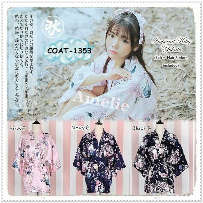 harga Cardigan outer dress kimono yukata jepang premium import pink black Tokopedia.com