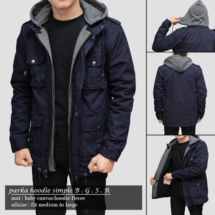 Jaket parka kanvas premium navy / gunung / cowo / kombinasi