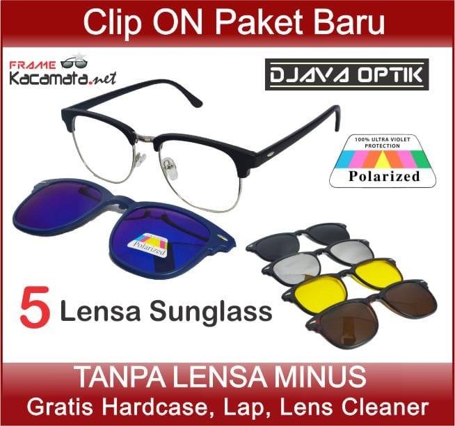 Jual Murah Frame Kacamata Minus Clip On 5 Lensa Sunglass Hitam Pria ... 4070cc31e7