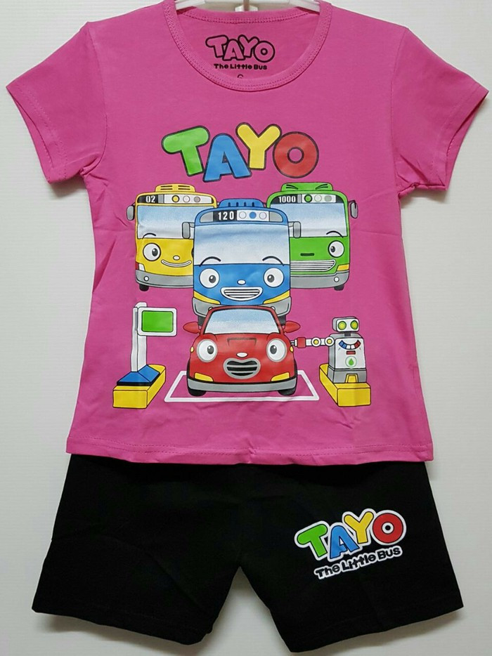 harga Setelan Anak Size 1-6 Tayo The Little Bus Pink Fanta | Kaos Anak Murah Tokopedia.com