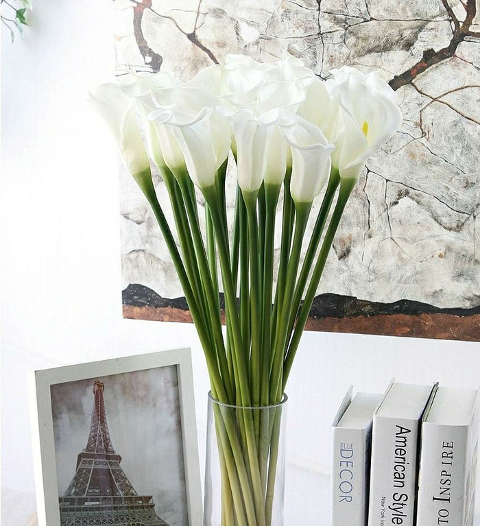 Bunga calla lily artificial latex import (70cm) - white putik kuning 7d3dc2421a