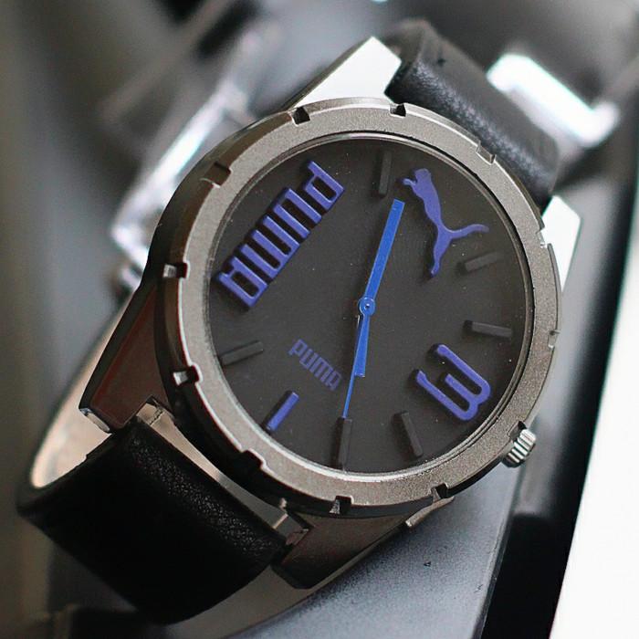 jam tangan pria puma kulit murah / jtr 1181 hitam biru
