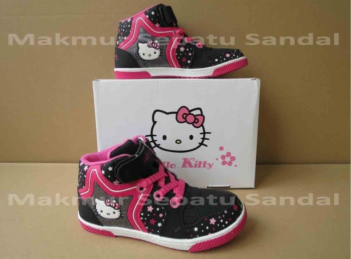 harga Sepatu anak perempuan - hello kitty hk boot stars - hitam/fusia Tokopedia.com