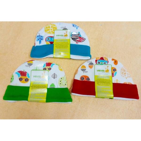 Velvet Topi Bulat Owl Garden New Born Isi 3pcs