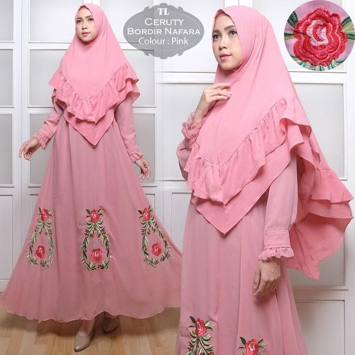 Baju Muslimah Promo [Syari Ceruty Nafara Pink TL] gamis wanita ceruty