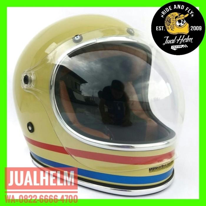 harga Helm custom/helm simpson/helm bullit list chrome krem motif Tokopedia.com