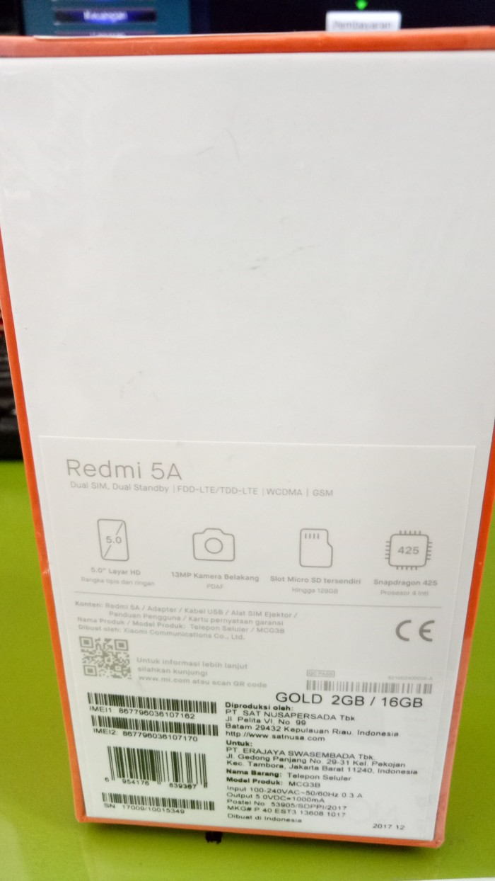 Jual Xiaomi Redmi 5a Ram 2 16 Garansi Resmi Tam Star Mobile Smb Xiomi Ram2 16gb