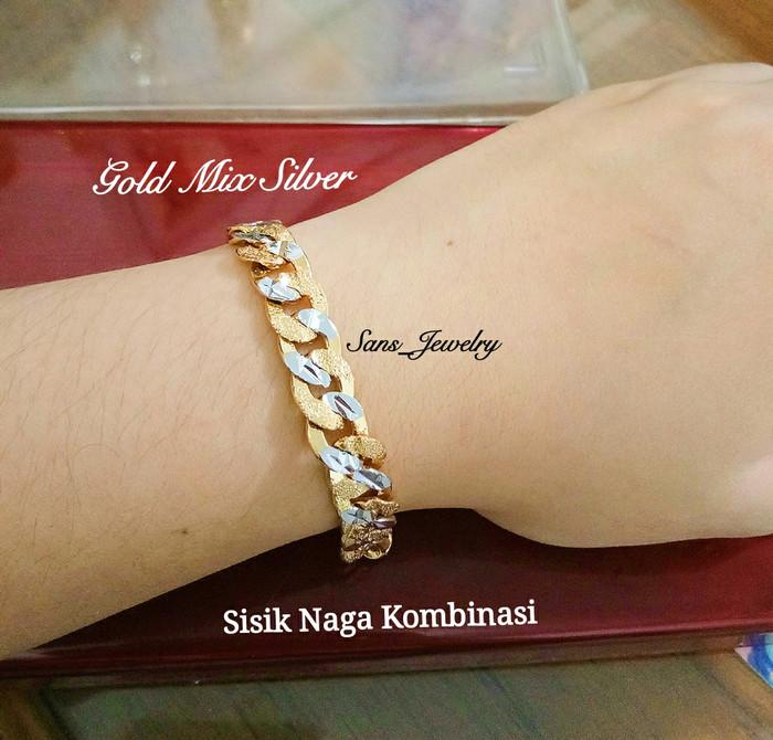 harga Promo Gelang Sisik Naga Kombinasi Perhiasan Aksesoris Korea Gold Perak Tokopedia.com
