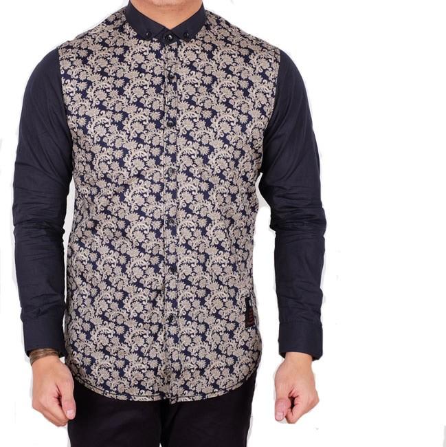 kemeja batik pria lengan panjang navy slimfit / baju batik panjang