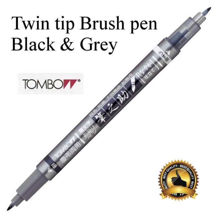 Tombow fudenosuke brush pen twin tip black / grey