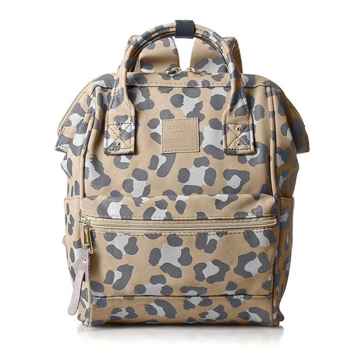 Anello mini leopard pattern backpack tas ransel casual - leopard green