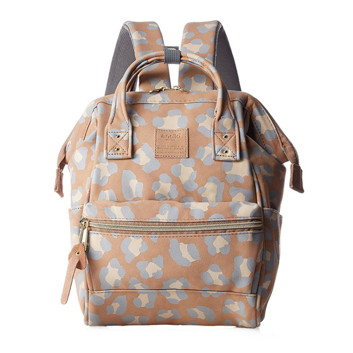 Anello mini leopard pattern backpack tas ransel casual - leopard navy