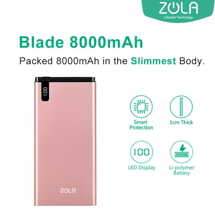 zola blade 8000 mah fast charging 2.1a powerbank - rose gold