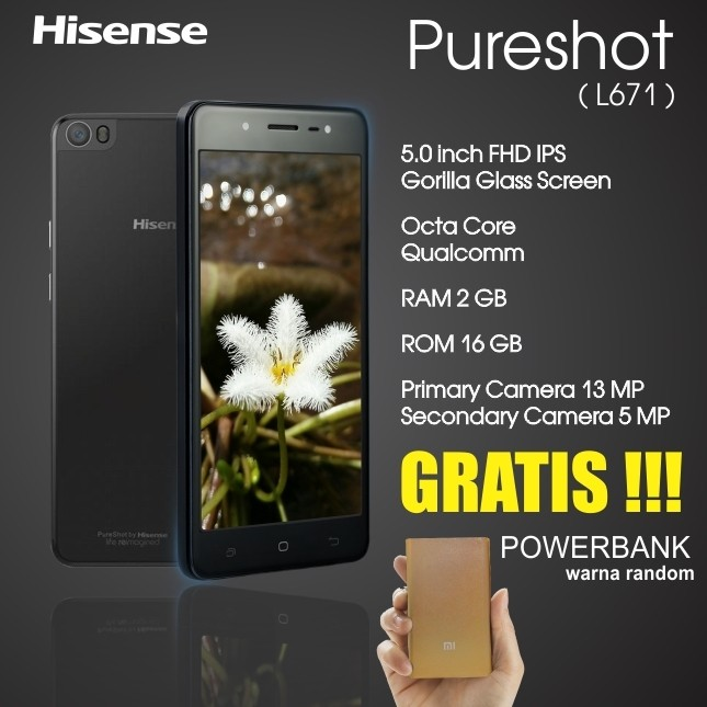 harga Handphone android smartphone hisense pureshot l671 gratis powerbank Tokopedia.com