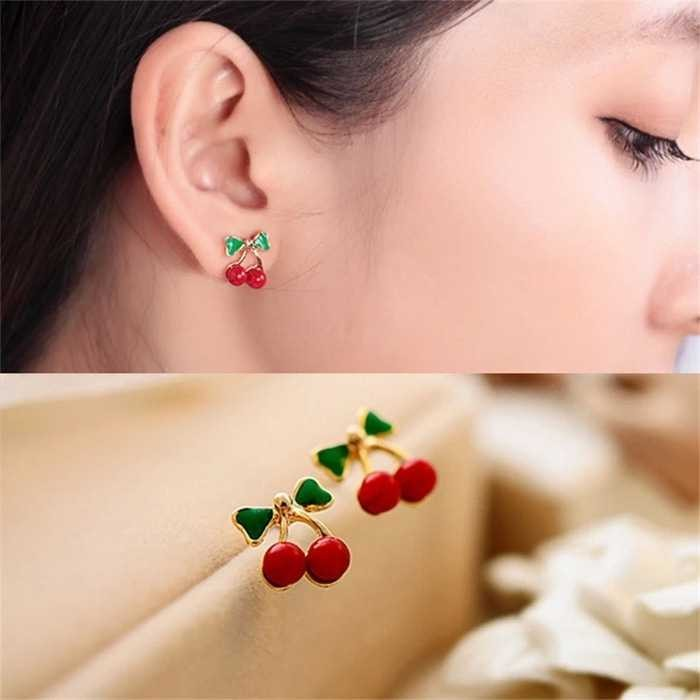 A14694 Anting Ceri Cute Sweet Red Cherry Stud Earring