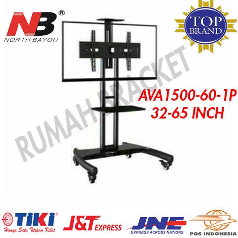 harga North bayou ava1500-60-1p 32-65 in steel tv stand dengan roda Tokopedia.com