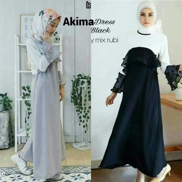 d11e9123 Jual Baju Pesta Wanita Dress Hijab Murah Gamis Hitam Akima