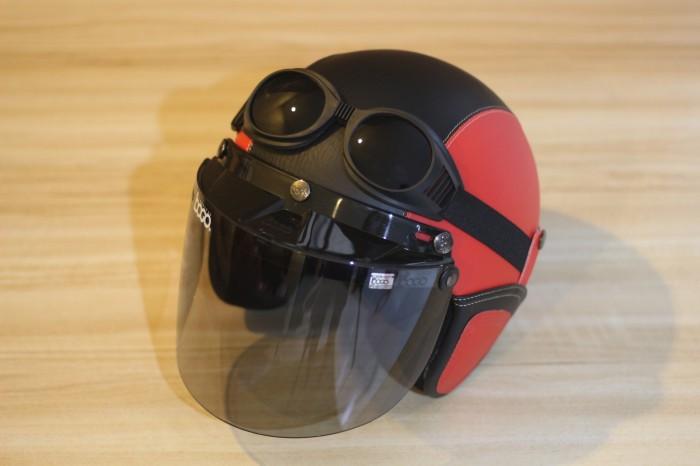 Helm Bogo - Helm Kulit Kaca Bogo Ori Plus Goggle - Merah Hitam 1