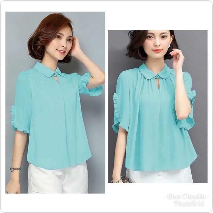 harga Jcfashion blouse claudia blus sifon krah kemeja gaya korea Tokopedia.com