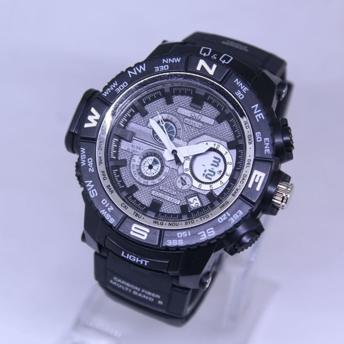 JAM TANGAN PRIA Q&Q DOUBLE TIME BLACK JARUM WHITE