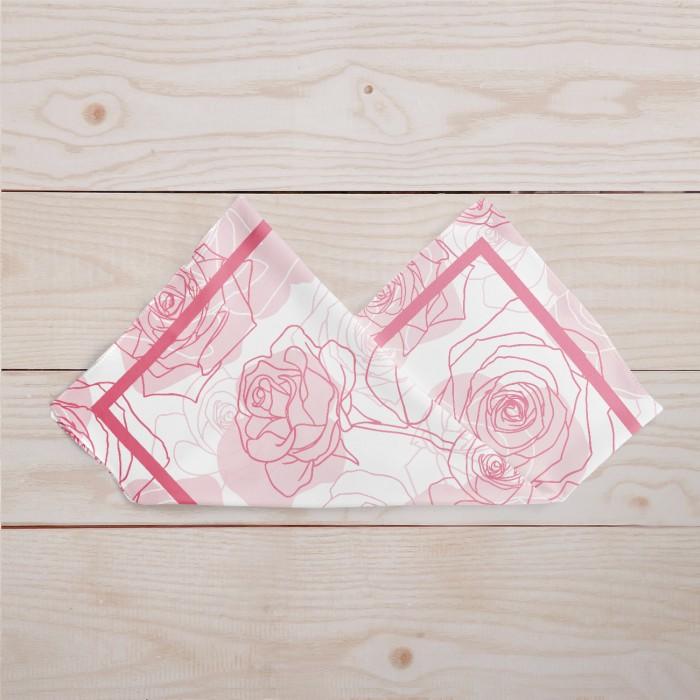 NEW HIJAB SEGI EMPAT - Jilbab Satin Silk Motif Bunga Mawar Merah Muda