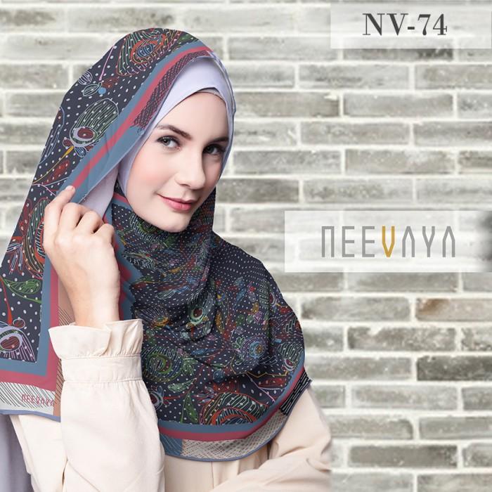 Hijab jilbab scarf segi empat print voal / voile premium neevaya nv74