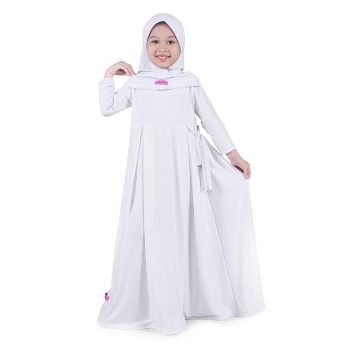 Foto Produk BAJUYULI - Baju Muslim Anak Perempuan Gamis Jersey Putih Putih MJT01 dari Grone