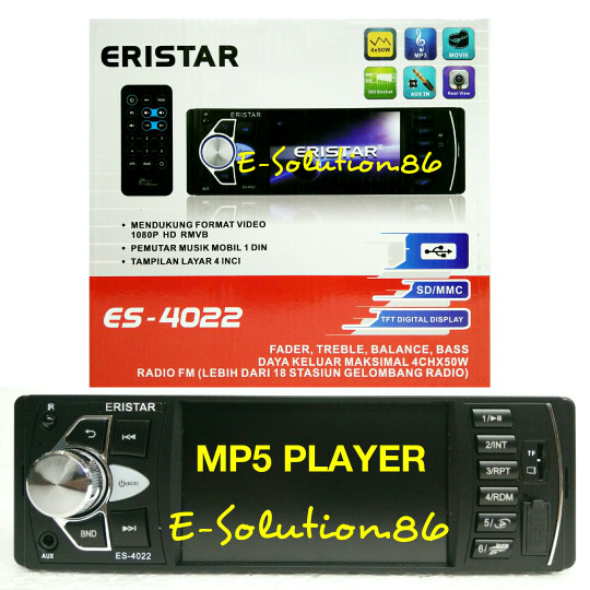 harga Head unit single din mp5 eristar tape mobil led 4inch ampli power mp3 Tokopedia.com