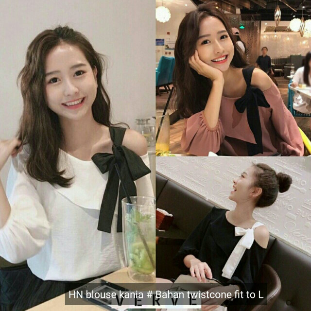 Jual blouse ribbon cute shoulder - Sggirlshouse  35858aa4a2