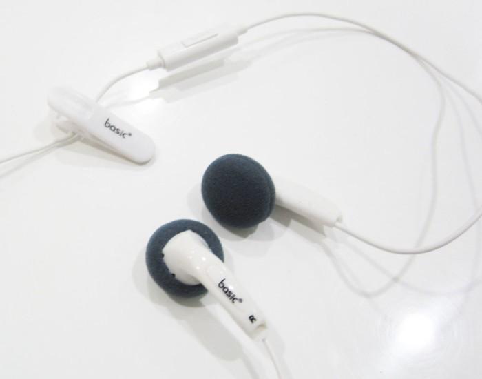 Basic Ear Bud Earphone EB-12 w/ Mic White / Earphone Basic EB12 Putih