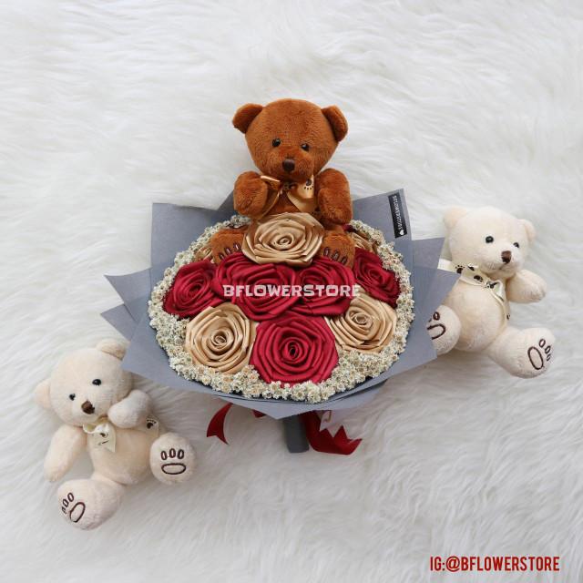 harga Buket bunga teddy bear satin handmade edelweiss edelweis Tokopedia.com