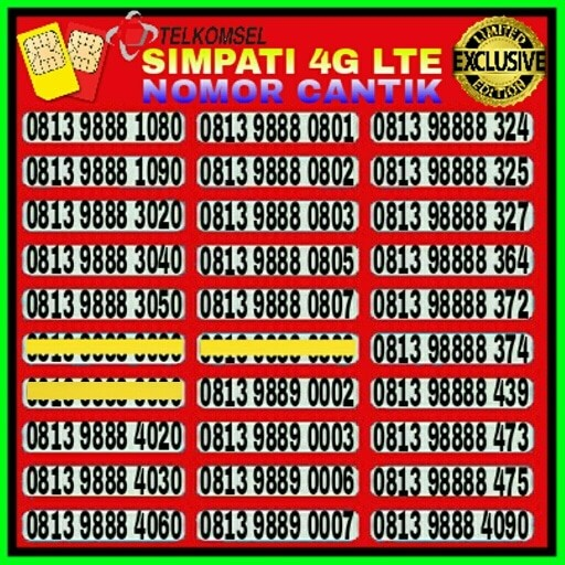 Kartu Perdana Nomor Cantik Telkomsel Simpati No AS Loop XL Indosat IM3