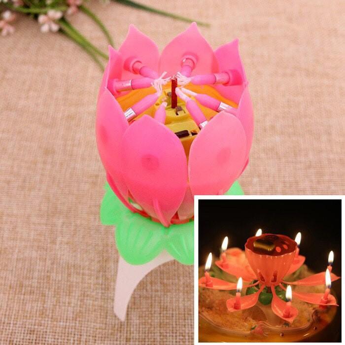 ... Music Candle Lilin Lotus Lilin Bunga Teratai Lilin Nyanyi Ulang tahun