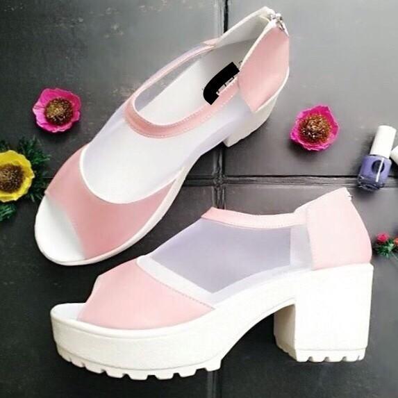 harga Wedges pink jaring - sepatu heels wedges - sepatu wanita lucu murah Tokopedia.com