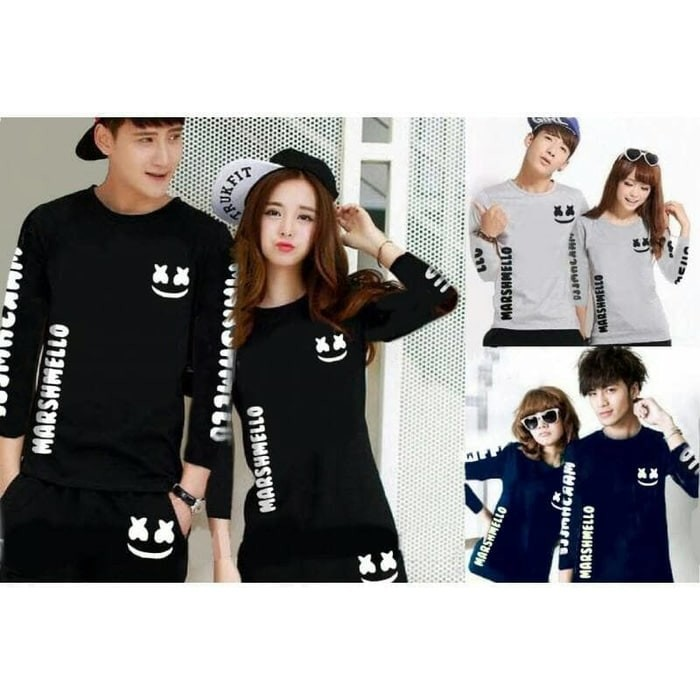 Baju Kaos Couple Marshmello Simple ( soulmate / lucu / pasangan ) MUR
