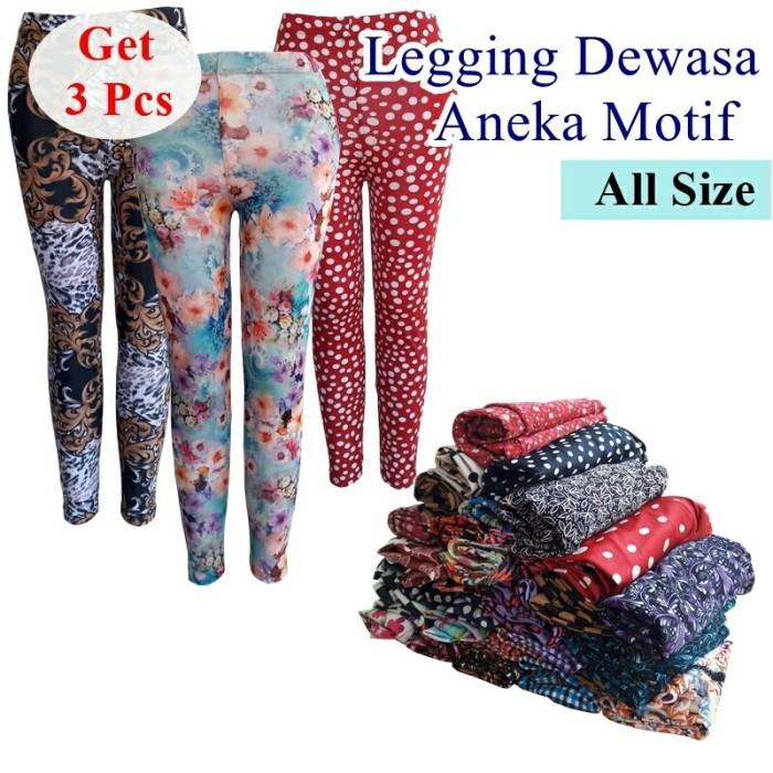 harga 3pcs !! legging motif remaja & dewasa - celana legging panjang wanita Tokopedia.com