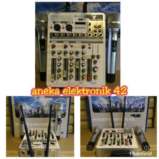 harga Mixer audio vpk v4 pro plus 2 mic wireless / mixer vpk v4 pro (2mic) Tokopedia.com