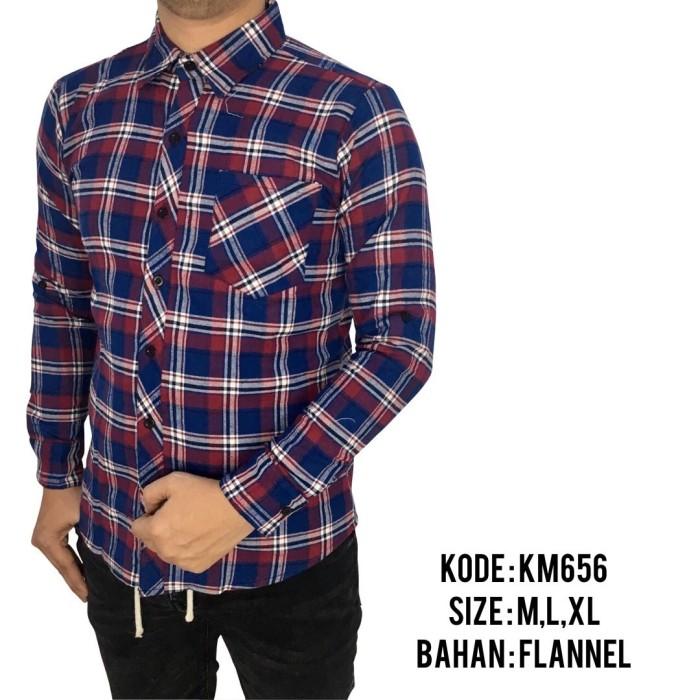 Km656 Kemeja Flannel Lengan Panjang Pria Motif Kotak Kotak Terbaru
