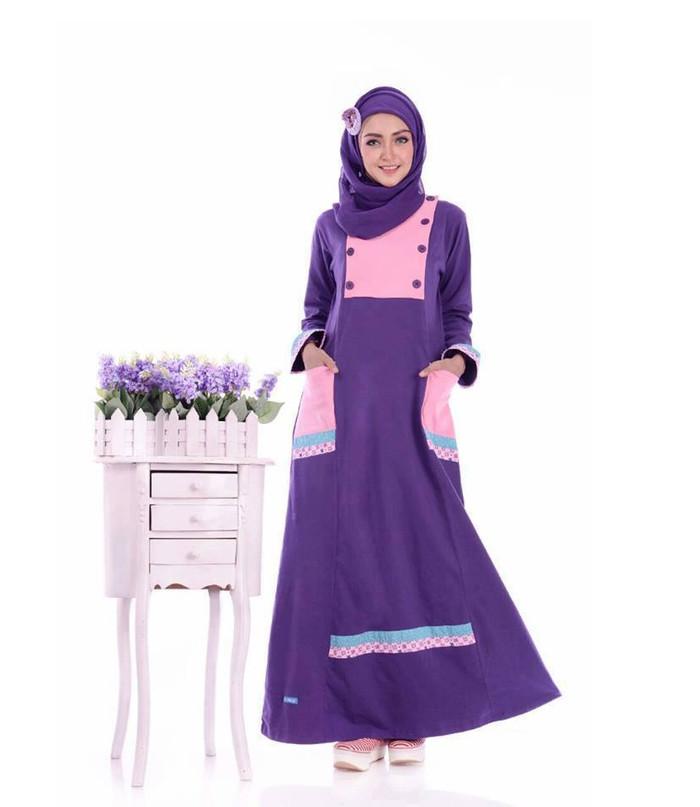 PROMO HOT SALE   Baju Dress Wanita Gamis ALNITA AG-21 UNGU TERONG - Ungu, M