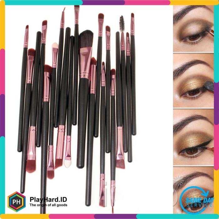 harga Kuas make up uk professional cosmetic brush 20 set - black/brown
