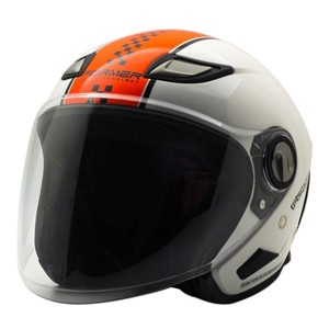 Helm half face cargloss former flo orange white