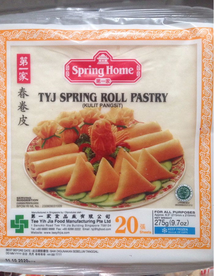 harga Tyj spring roll pastry 275 gr isi 20 kulit lumpia instant spring home Tokopedia.com