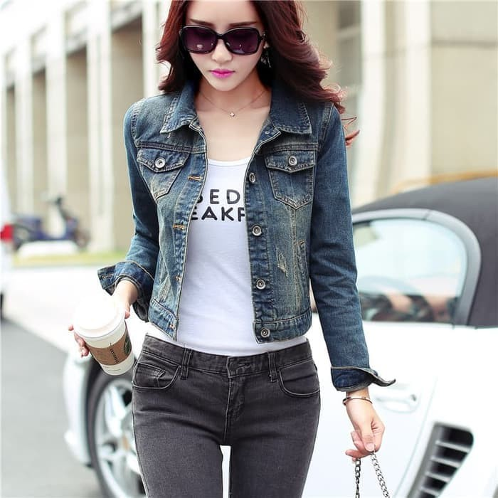 harga Jaket wanita jeans blue tangan panjang Tokopedia.com