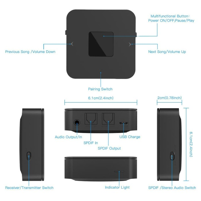 harga Bt4852b wireless spdif home tv stereo audio adapter transmitter receiv Tokopedia.com